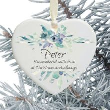 In Loving Memory Personalised Remembrance Heart Christmas Tree Decoration - Blue Floral Design